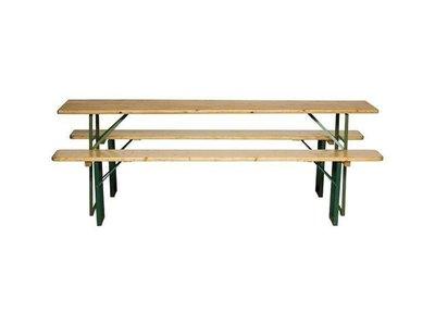houten tafel met 2 houten banken