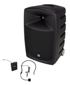 speaker met headset